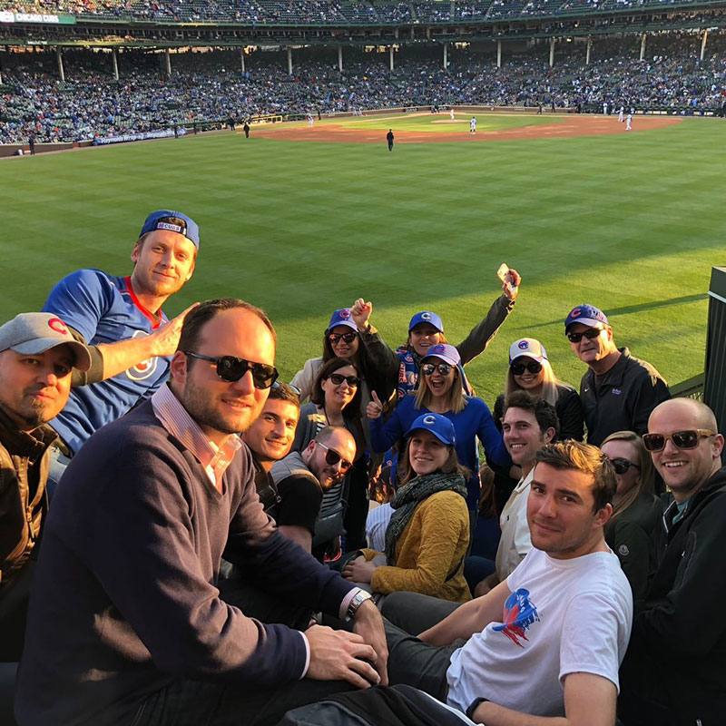 WorldChicago Pro Fellows at a Cubs Game in May 2018